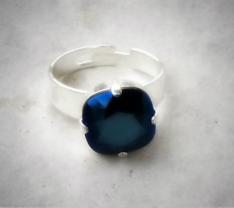 Swarovski crystal 12mm fancy square stone ring metallic blue-Cubrik Store