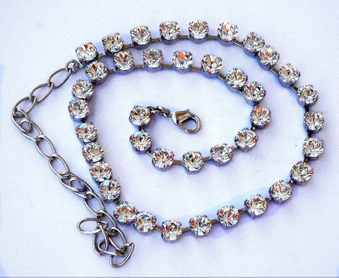 Swarovski crystal tennis necklace 6mm fancy stone clear crystal-Cubrik Store