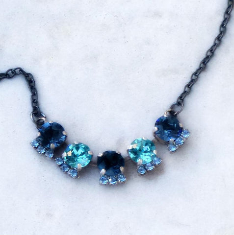 Swarovski crystal 8mm tennis style necklace montana,aquamarine,light sapphire-Cubrik Store