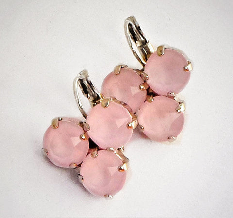 Swarovski crystal powder pink 3 stone leverback drop fancy stone earrings-Cubrik Store