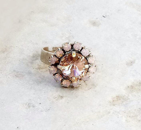 Swarovski crystal fancy stone 10mm rivoli ring vintage rose and rose water opal-Cubrik Store