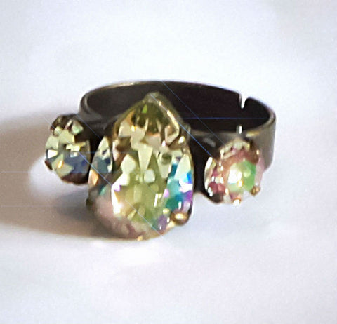 Swarovski crystal luminous green pear antique brass ring adjustable-Cubrik Store