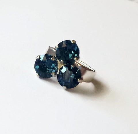 Swarovski crystal three stone ring blue montana 6-9US adjustable-Cubrik Store