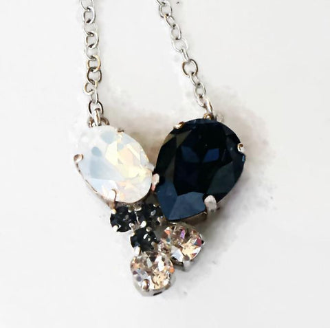 Swarovski crystal graphite and white opal multistone drop pendant necklace-Cubrik Store