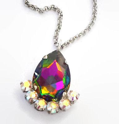 Swarovski Crystal 30x20MM Pear Pendant Necklace Vitrail Medium Clear CrystalAB-Cubrik Store
