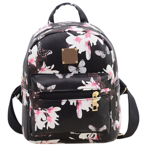 Hot Fashion Women's Leisure Campus wind Printing backpack(Black)