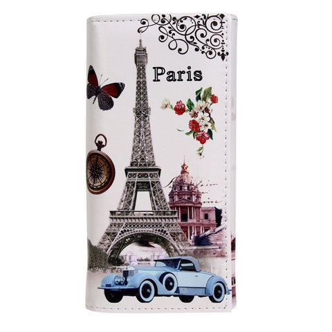 Hot Sale Fashion Women Long Wallet Smooth PU leather Paris Flags Eiffel Tower Style Lady Coin Purses Clutch Wallets Money Bags