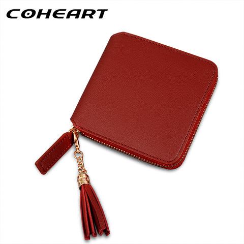 COHEART Fashion Women Wallet Elegant Tassel Pendant female wallet card purse quality leather wallet small money bag coin pocket