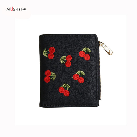 cherry women wallets purses vintage leather small mini money bags of famous designer brands high quality card coin purse black