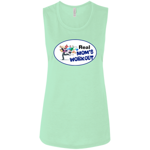 B8803 Bella + Canvas Ladies' Flowy Muscle Tank - Blue Theme REAL MOM'S WORKOUT