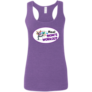 G645RL Gildan Ladies' Softstyle Racerback Tank - Purple Theme REAL MOM'S WORKOUT