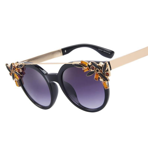 Fame Cat Eye Crystal Diamond Frame Sunglasses