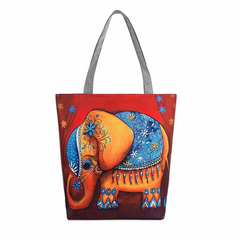 Fame Elephant Printing Canvas Beach Bag