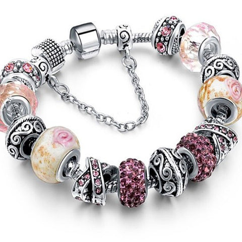 Fame Glass And Crystal Charm Bracelet