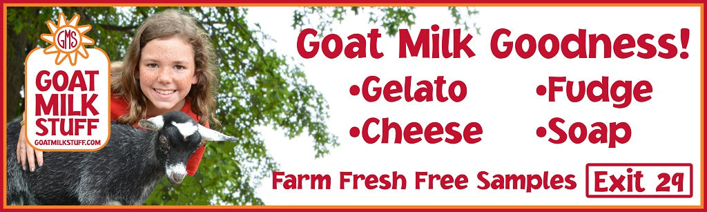 A Goat Milk Stuff Billboard for Fudge, Gelato, Cheese, and Soap