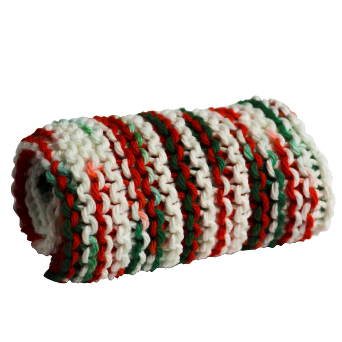 washcloth christmas peppermint stick red green white