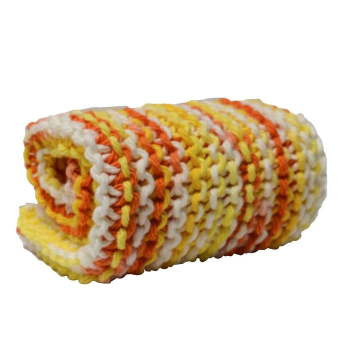 washcloth candy corn orange yellow white