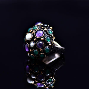 Silver Ring Adorned With Crystal Stones