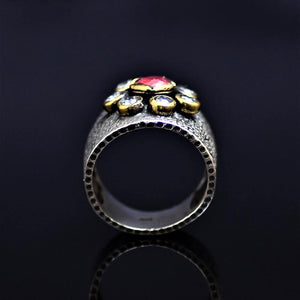 Silver Ring Adorned With Lab Created Ruby And Zircon Stones