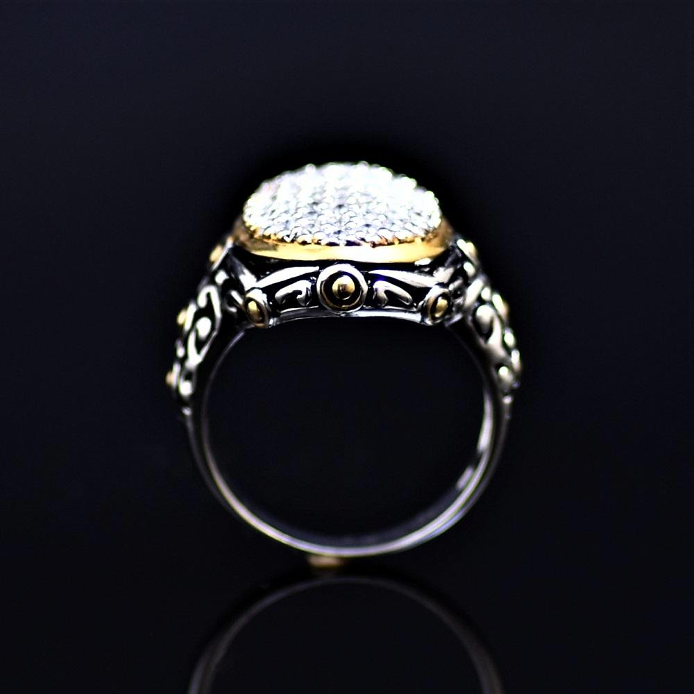 Silver Ring Adorned With Little Zirconia Stones