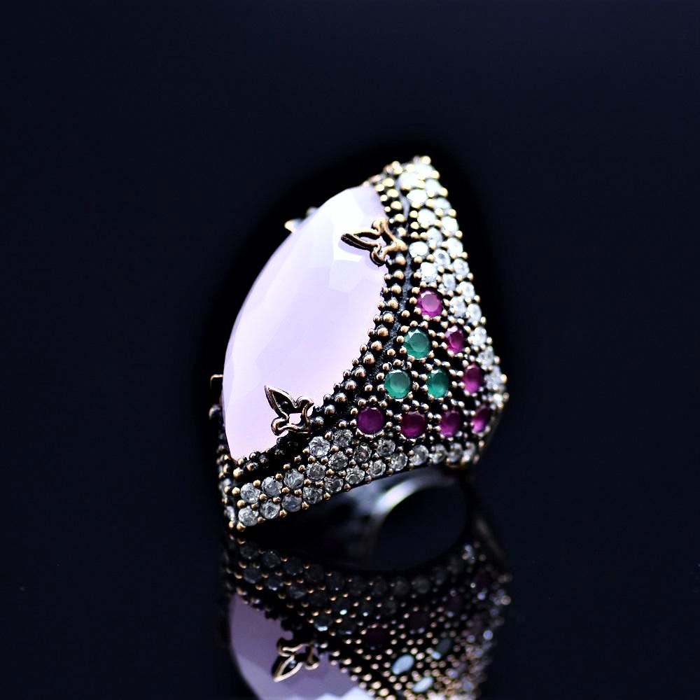 Silver Ring Adorned With Pink Quartz Stone