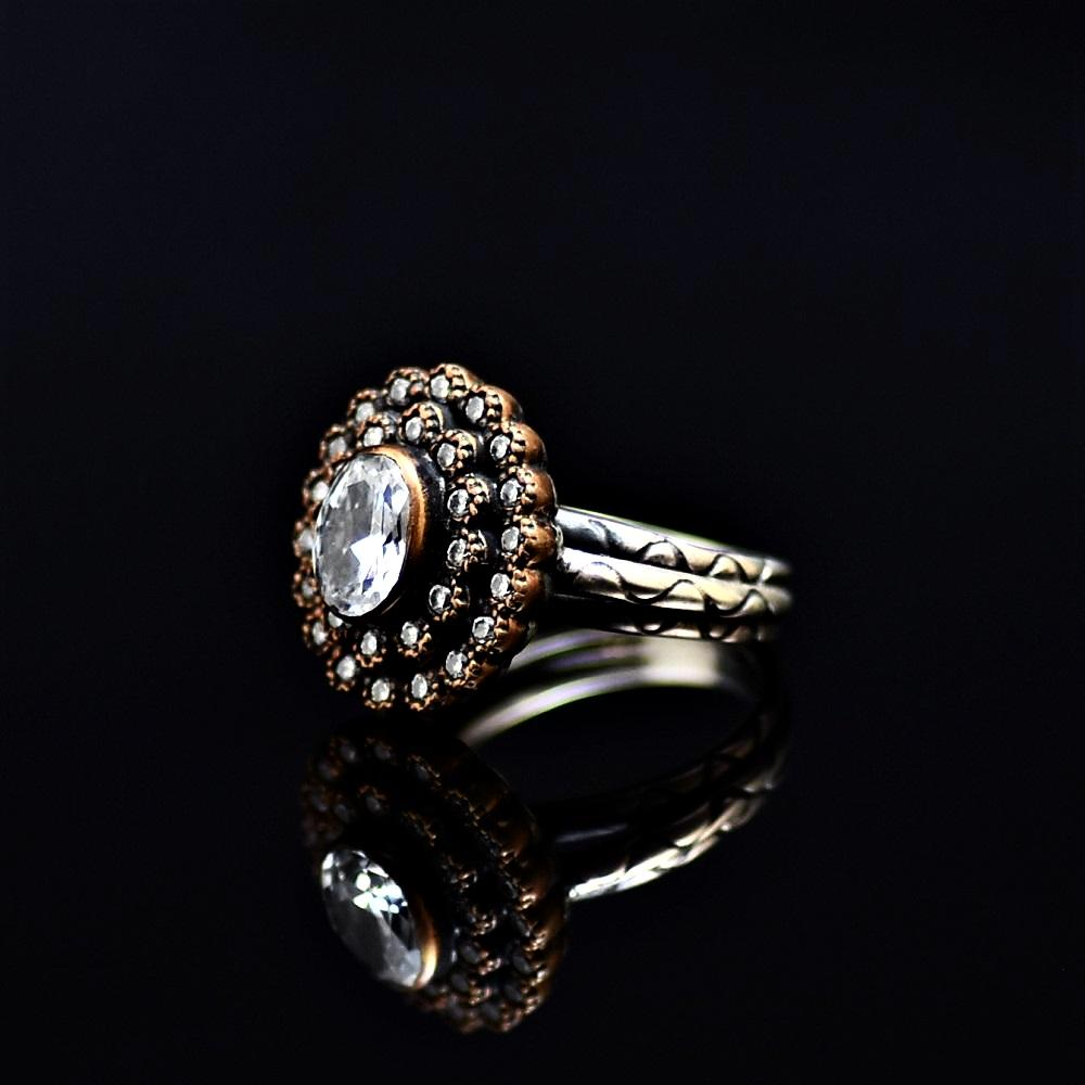 Silver Ring Adorned With White Zircon Stone And Zirconia Stones