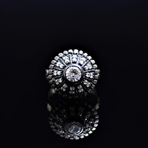 Silver Ring Adorned With White Zircon And Zirconia Stones