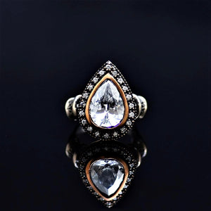 Silver Ring Adorned With White Zircon Stone