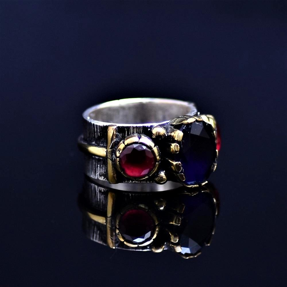 Silver Ring Adorned With Lab Created Sapphire And Ruby Stones