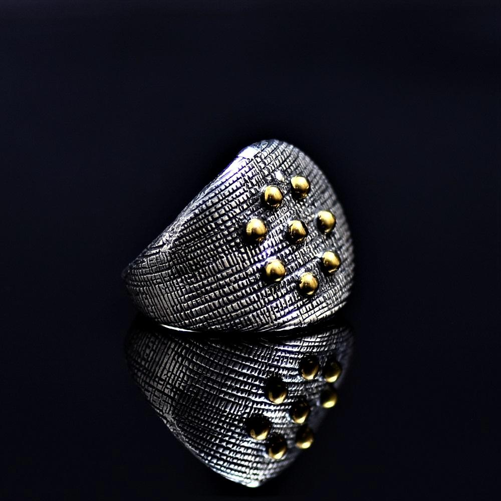 Silver Ring Adorned With Gold Colored Brass Balls