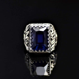 925 Sterling Silver Adorned With Engraved Floral Accents And Lab Created Sapphire Stone Front