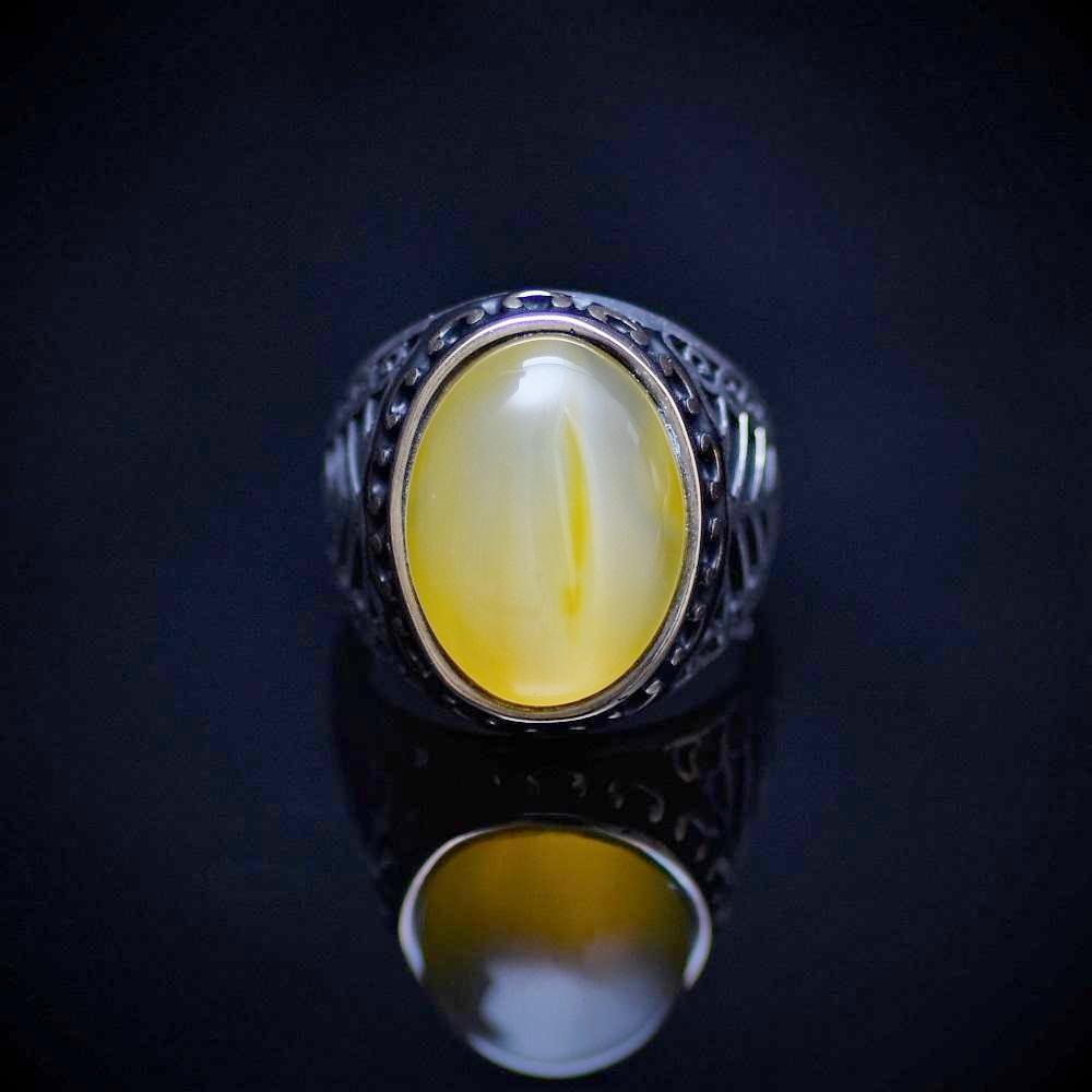 925 Sterling Silver Men's Ring With Yellow Agate Stone Front