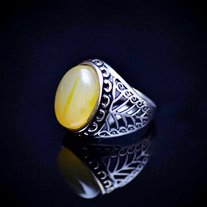 925 Sterling Silver Men's Ring With Yellow Agate Stone Right