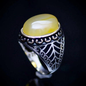 925 Sterling Silver Men's Ring With Yellow Agate Stone