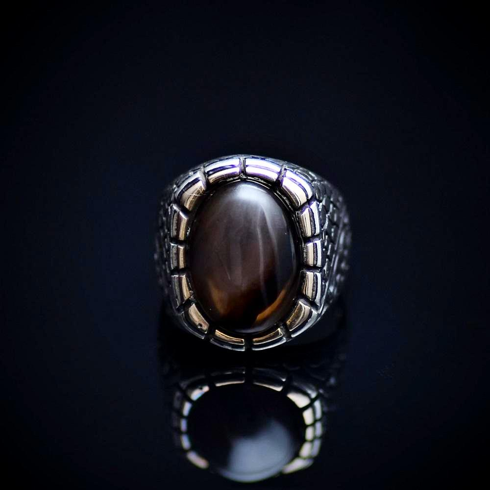 925 Sterling Silver Ring Adorned With Coffee Agate Stone Front