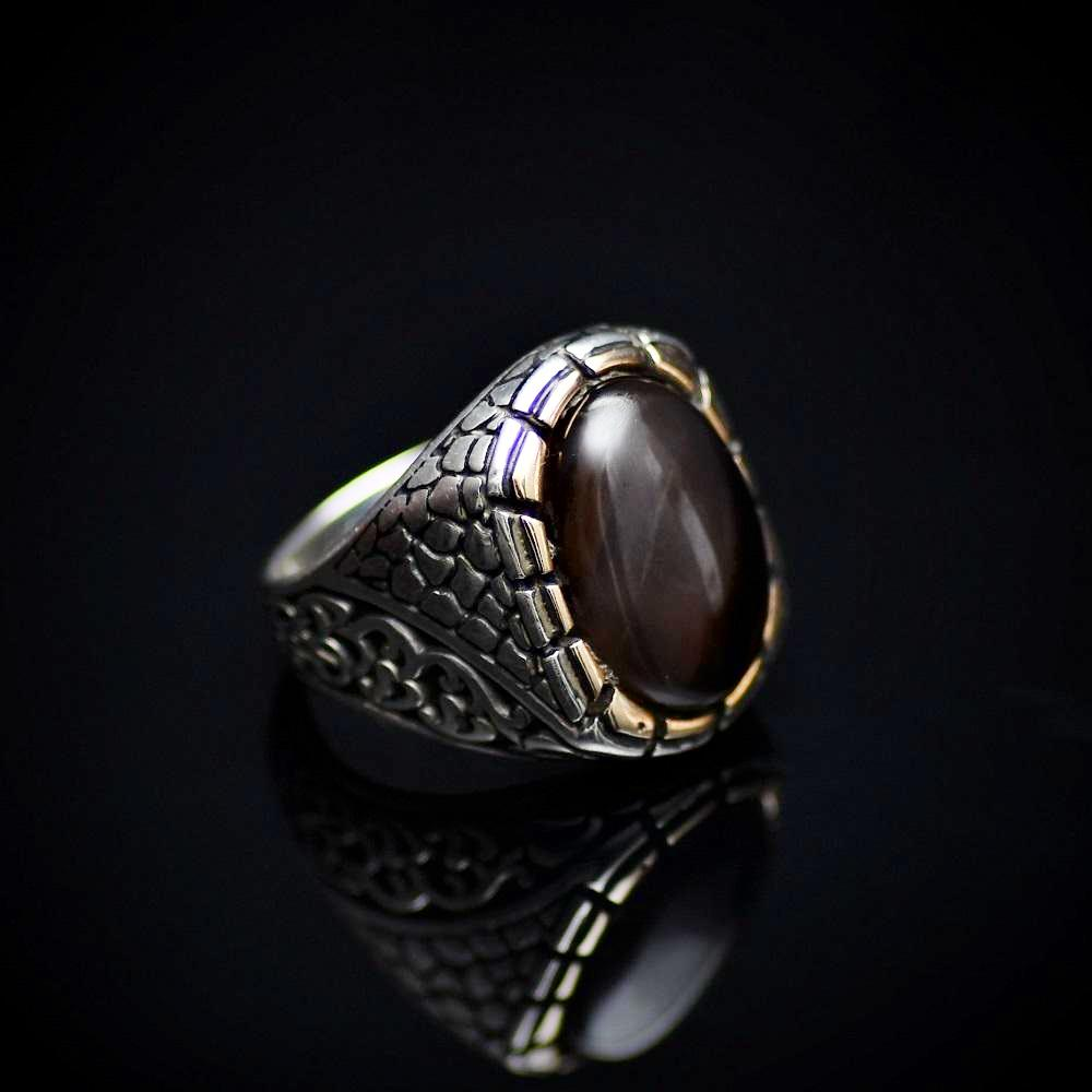 925 Sterling Silver Ring Adorned With Coffee Agate Stone Left