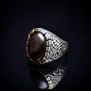925 Sterling Silver Ring Adorned With Coffee Agate Stone Right