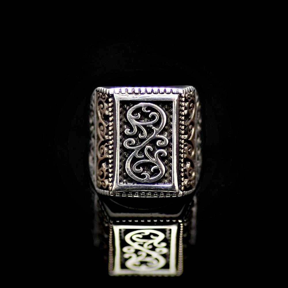 925 Sterling Silver Ring Adorned With Engraved Oriental Figures Front