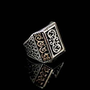 925 Sterling Silver Ring Adorned With Engraved Oriental Figures Left