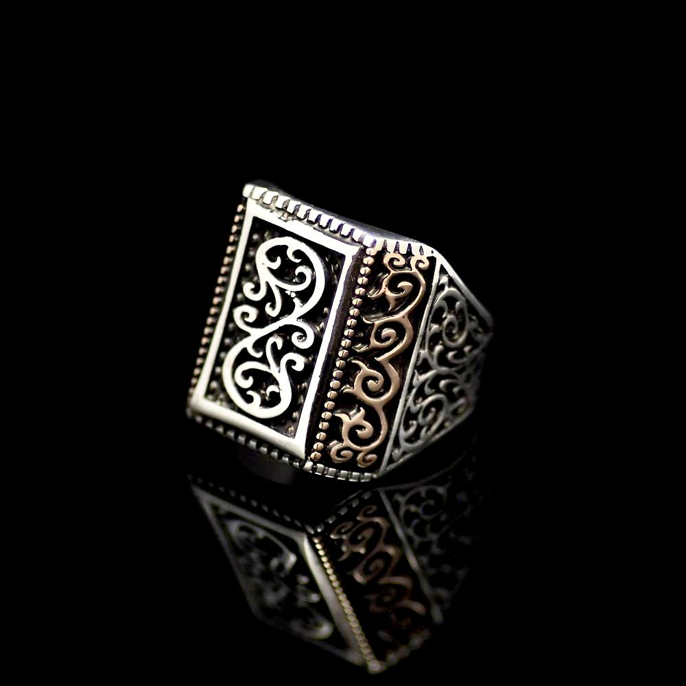 925 Sterling Silver Ring Adorned With Engraved Oriental Figures Right