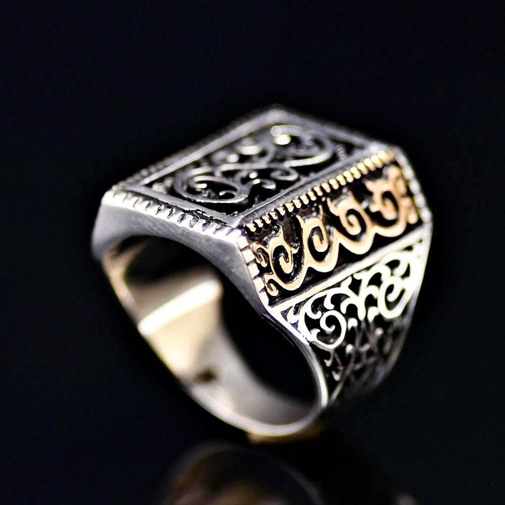 925 Sterling Silver Ring Adorned With Engraved Oriental Figures