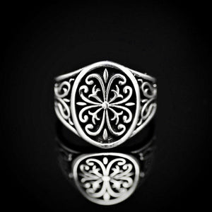 Anatolian Figures Engraved Silver Ring Front