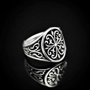 Anatolian Figures Engraved Silver Ring Left