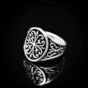 Anatolian Figures Engraved Silver Ring Right
