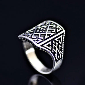 Anatolian Kilim Patterned Silver Ring