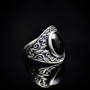 Artisanal 925 Sterling Silver Ring With Black Agate Stone Left