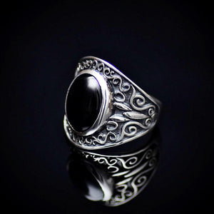 Artisanal 925 Sterling Silver Ring With Black Agate Stone Right