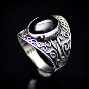 Artisanal 925 Sterling Silver Ring With Black Agate Stone