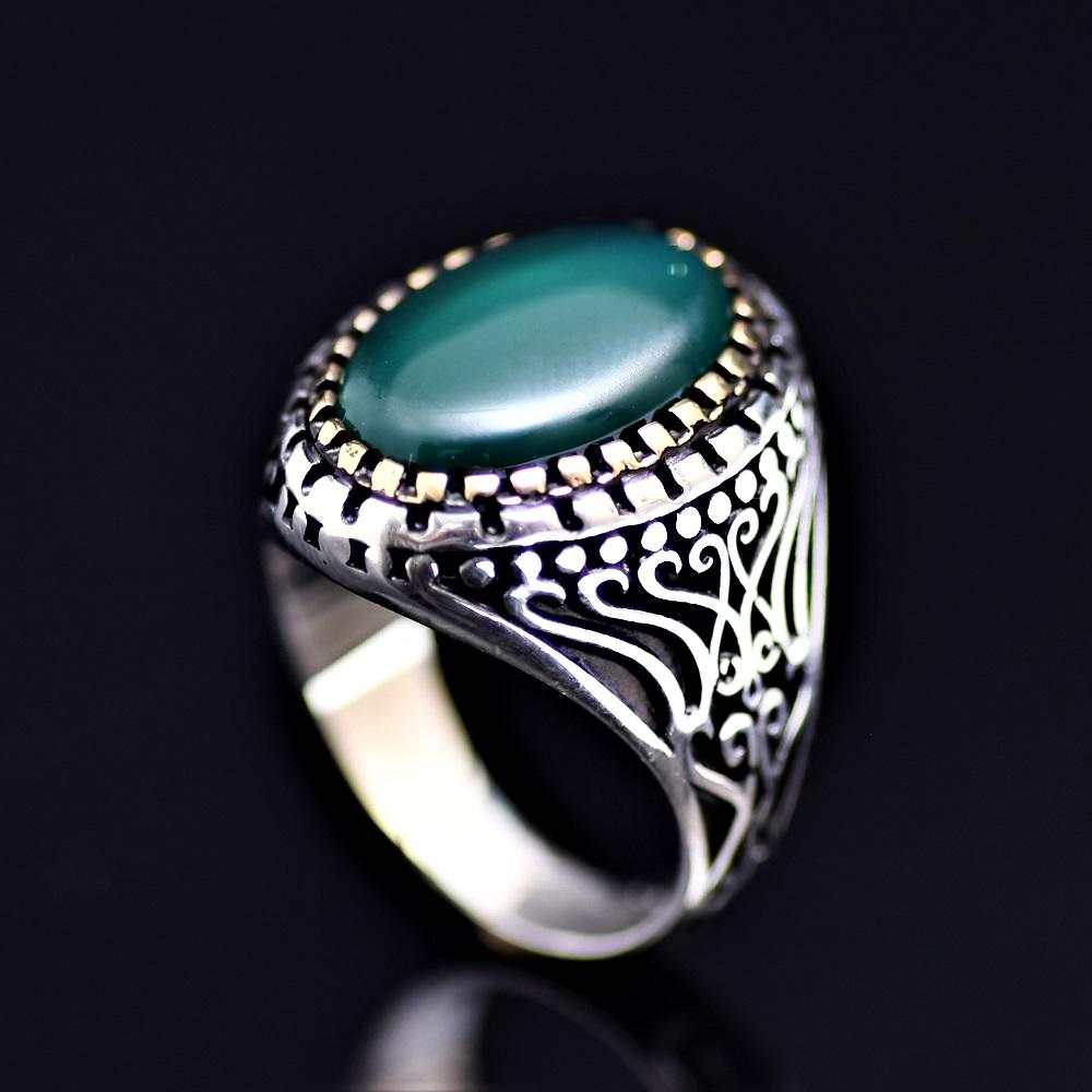 Artisanal Silver Ring Adorned With Green Agate Stone