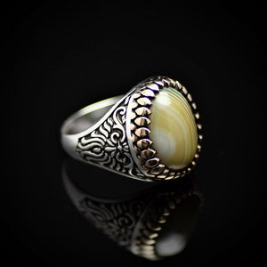 Artisanal Silver Ring Adorned With Green Striped Agate Stone Left